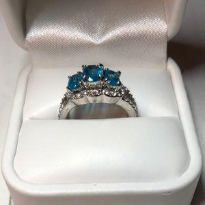 Jewelry - Ring - Aqua 3 Stone Ring w/Rhinestone Accents